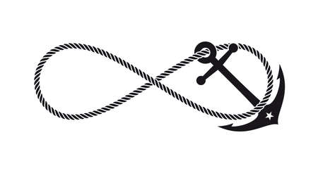 Vector monochrome anchor symbol with endless rope. Isolated on white background.