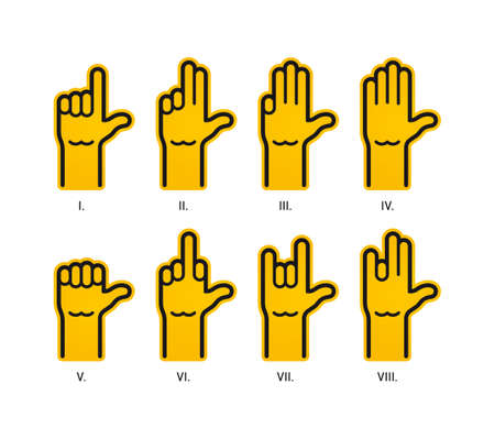 Vector eight hands creating different gestures. Isolated on white background.