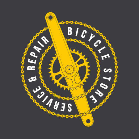 Vector template yellow circular logo emblem bicycle store, service and repair. Symbol of cranks with a chain. Isolated on dark background.
