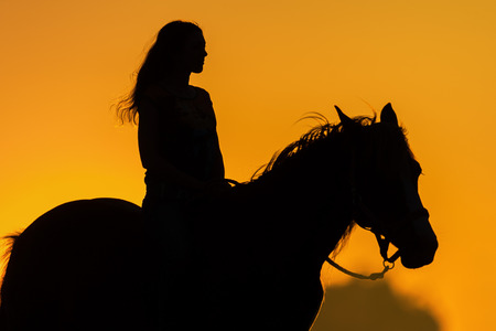 Girl and horse silhouette at sunset