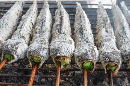 snakehead: Prepared salted grill snakehead fish with spices an herbs