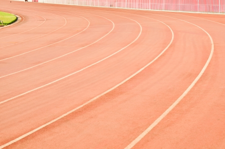 curve of running track rubber standard red color photo