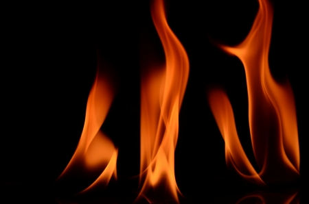Fire flames on black background  Stock Photo - 18840082