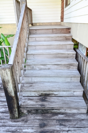 old white wooden stair  photo
