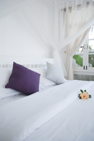 pillows and white bed in white bedroom  Stock Photo