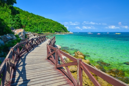 Wooden Bridge with beautiful seacape in koh lan ,Thailand  Stock Photo