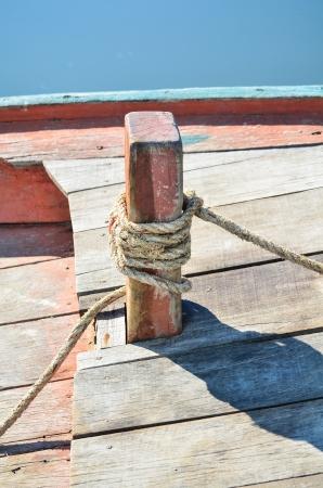 bollard: wooden bollard on ship