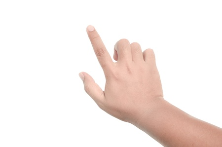 Hand touching virtual screen. Isolated on white Banque d'images
