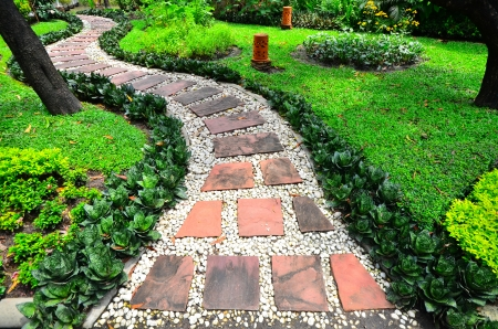 Stone Pathway in a garden photo