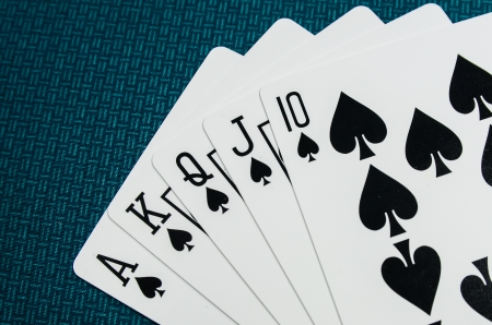 royal flush: royal flush playing cards Stock Photo