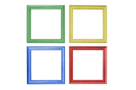 colorful picture frames isolated on white background photo