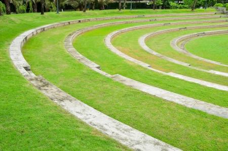 Stone and Grass Amphitheater Stock Photo