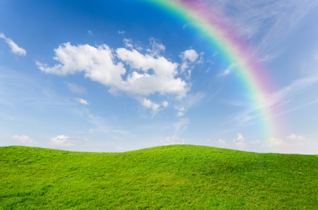 Green grass with blue sky and rainbow as background