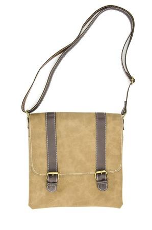 saddlebag: brown leather bag isolated on white background