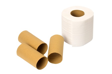 empty the bowel: toilet paper rolls isolated on white background Stock Photo