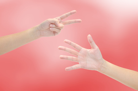 Paper, scissors, hammer - hands isolated on white background Archivio Fotografico