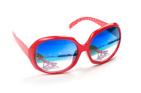 sea scape: red sunglasses with a reflection of a beautiful  sea scape