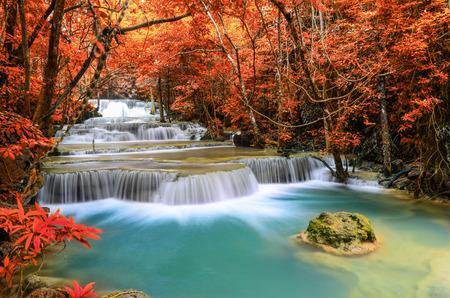 khamin: Beautiful deep forest Waterfall ,Huay Mae Khamin, Kanchanaburi ,Thailand
