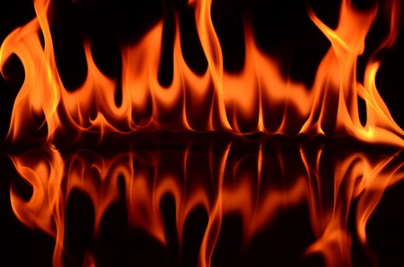 Fire flames on a black background photo