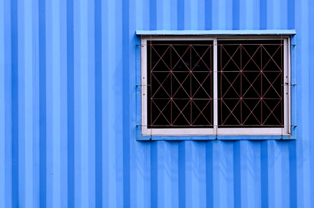 Windows of blue Container office photo