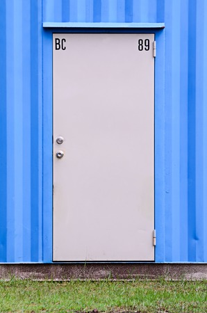 Door of blue Container office photo