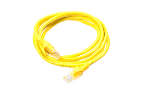 interconnect: yellow network cable on white background