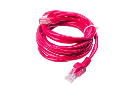 cat5: red network cable on white background Stock Photo
