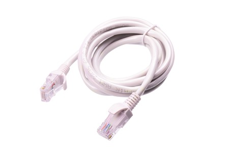 cat5: white network cable on white background