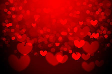 Red heart Christmas bokeh background