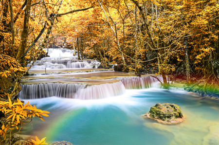 khamin: Deep forest Waterfall ,Huay Mae Khamin, Kanchanaburi ,Thailand Stock Photo