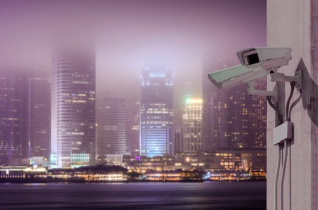 city surveillance: Surveillance Security Camera or CCTV over Hong Kong night city