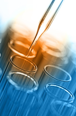 green chemistry: science laboratory test tubes Stock Photo