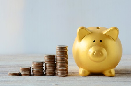 savings: Saving plan with Gold Piggy bank Stock Photo