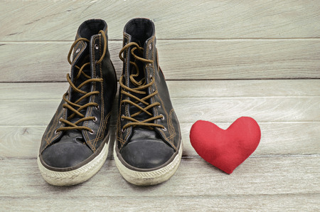 swain: Shoes and red heart. Love theme