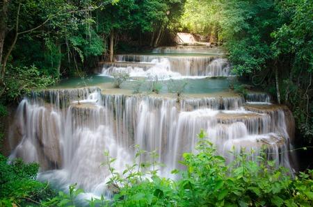 waterscape: Deep forest Waterfall ,Huay Mae Khamin, Kanchanaburi ,Thailand Stock Photo