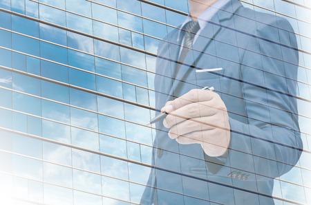 reverberation: modern glass office windows as background