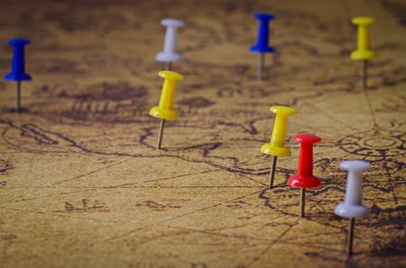 古い地図にマークされている場所 写真素材