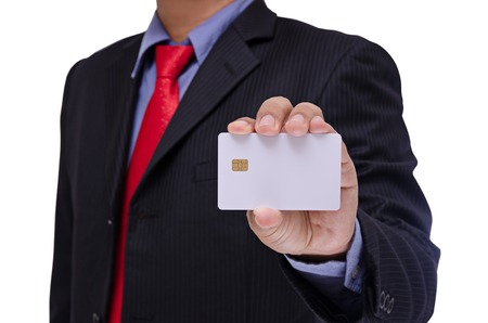 smart card: businessman holding blank smart card isolated on white background