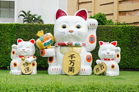 Lucky Chinese Cat on green grass Archivio Fotografico