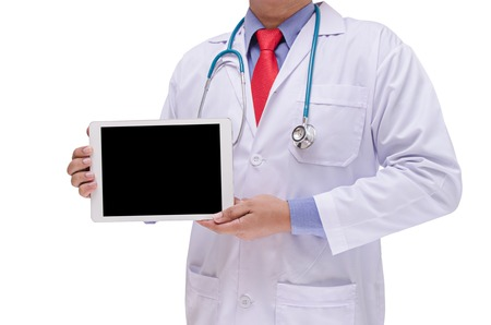 doctor holding tablet in hand isolated on white background