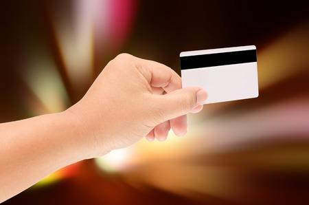 smart card: man hand holding a blank smart card
