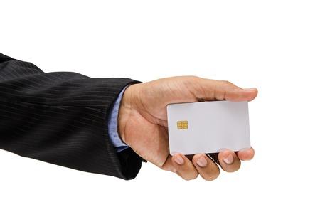 personalausweis: Geschäftsmann Hand mit Chipkarte isoliert auf weißem Hintergrund