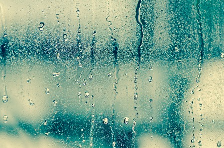 steamy: natural water drops on glass window