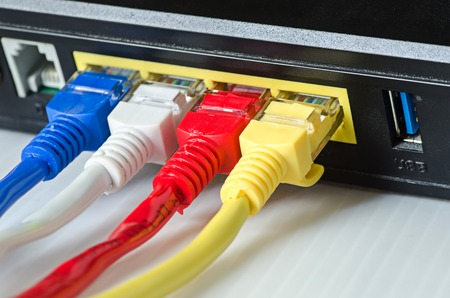 ethernet: Ethernet cables connect to router or switch