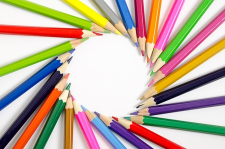 descriptive colors: color pencils as background Stock Photo