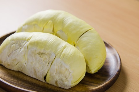 dorian: durian in wooden dish Stock Photo