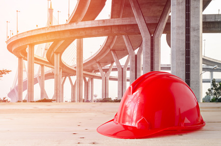 concrete construction: safety helmet in construction site
