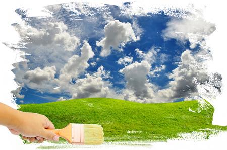platen: man hand paint the blue sky