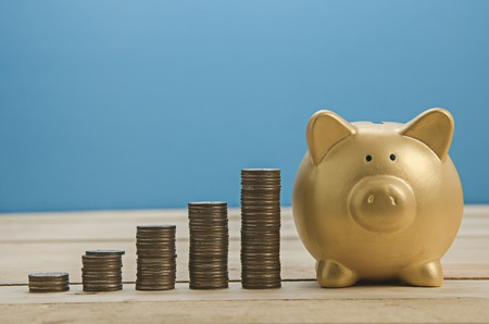 coin stack: growing coin stack and gold piggy bank Stock Photo