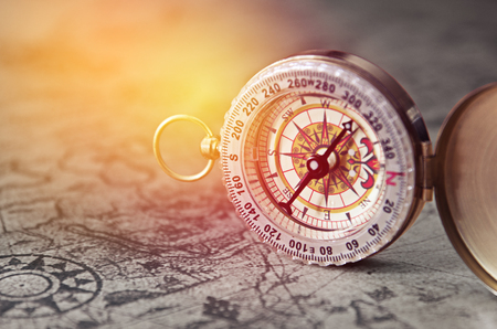vintage compass: vintage compass on old map